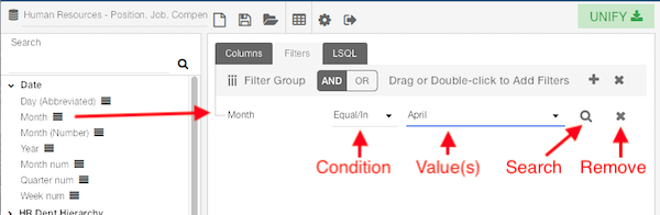 the filter criteria showing the condition, values, search, and remove.