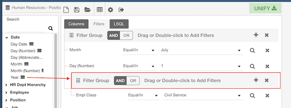 the filters area of Unify BI with an arrow pointing from a column in the subject areas to the filter group bar.