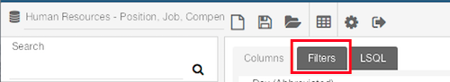 the filters tab highlighted at the top of the workspace