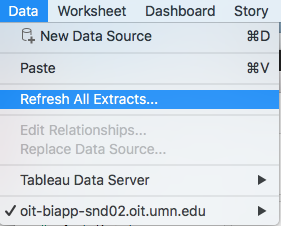 the tableau data menu with refresh all extracts highlighted