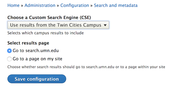 the settings for using search.umn.edu