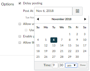 Announcement Options; Delay posting option selected; Post At pop-up calendar shows selected posting date and time .