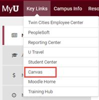 myu, key links menu, canvas highlighted