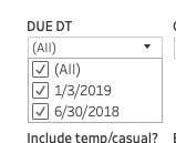 the due date drop down showing the available list of values.