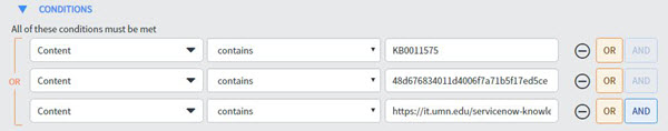New UI report filter conditions displaying sample criteria All of these conditions must be met for the filter conditions Content contains KBA Number, OR Content contains the article Sys ID, OR content contains the public article URL