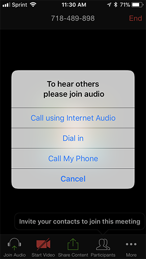 Screenshot of Zoom iOS app on an iPhone showing pop up window with options to Join Audio or Cancel