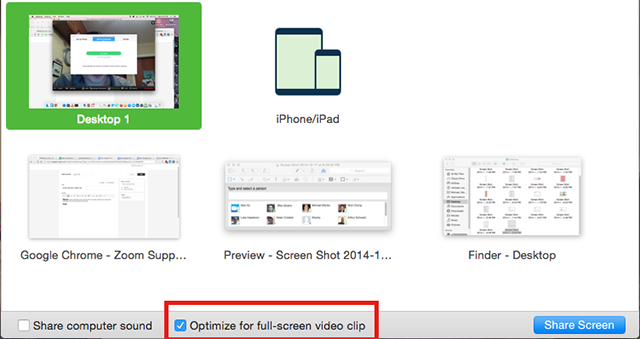 screenshot of Zoom share window highlighting Optimize for Full Screen Video Clip checkbox