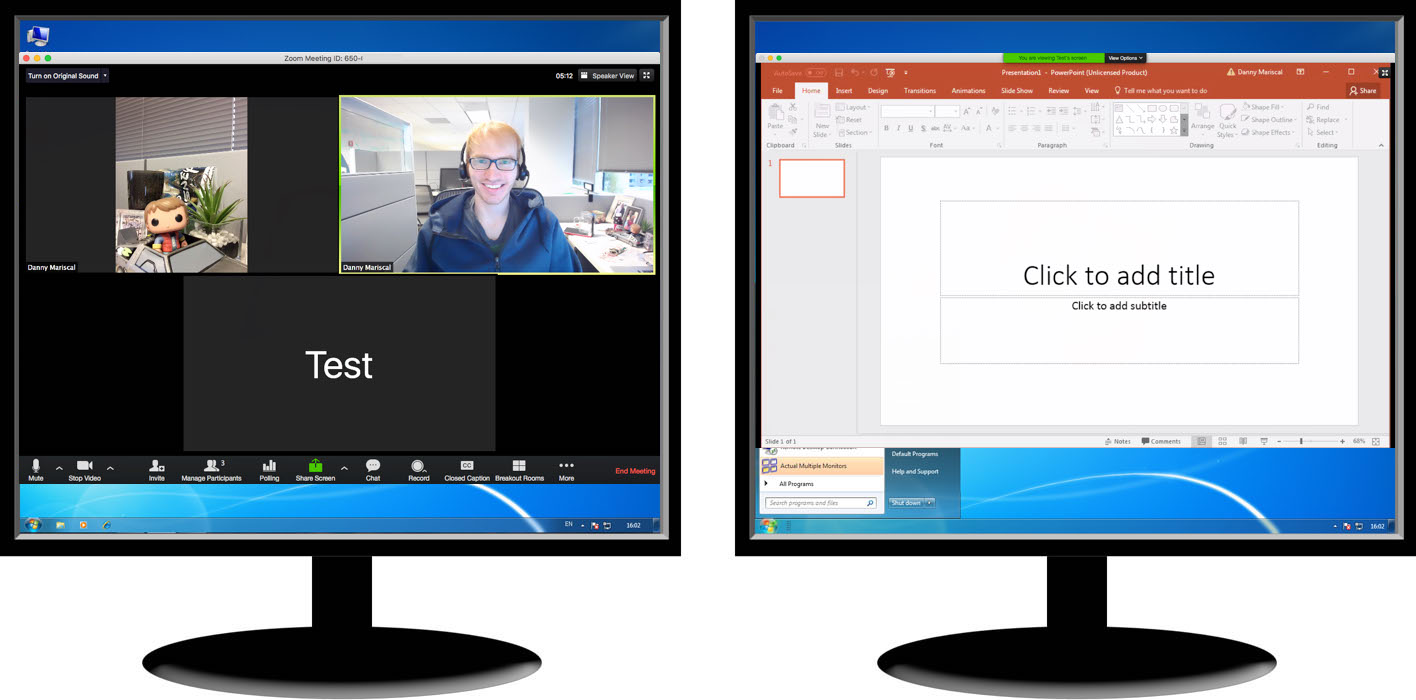 illustration showing two monitors side by side - one shows the Gallery View in a Zoom meeting and the other shows a PowerPoint Screen being shared in Zoom