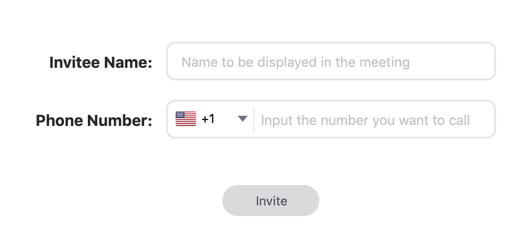 Zoom Invite Via Phone window with the fields Invitee Name, Phone Number, and the Invite button