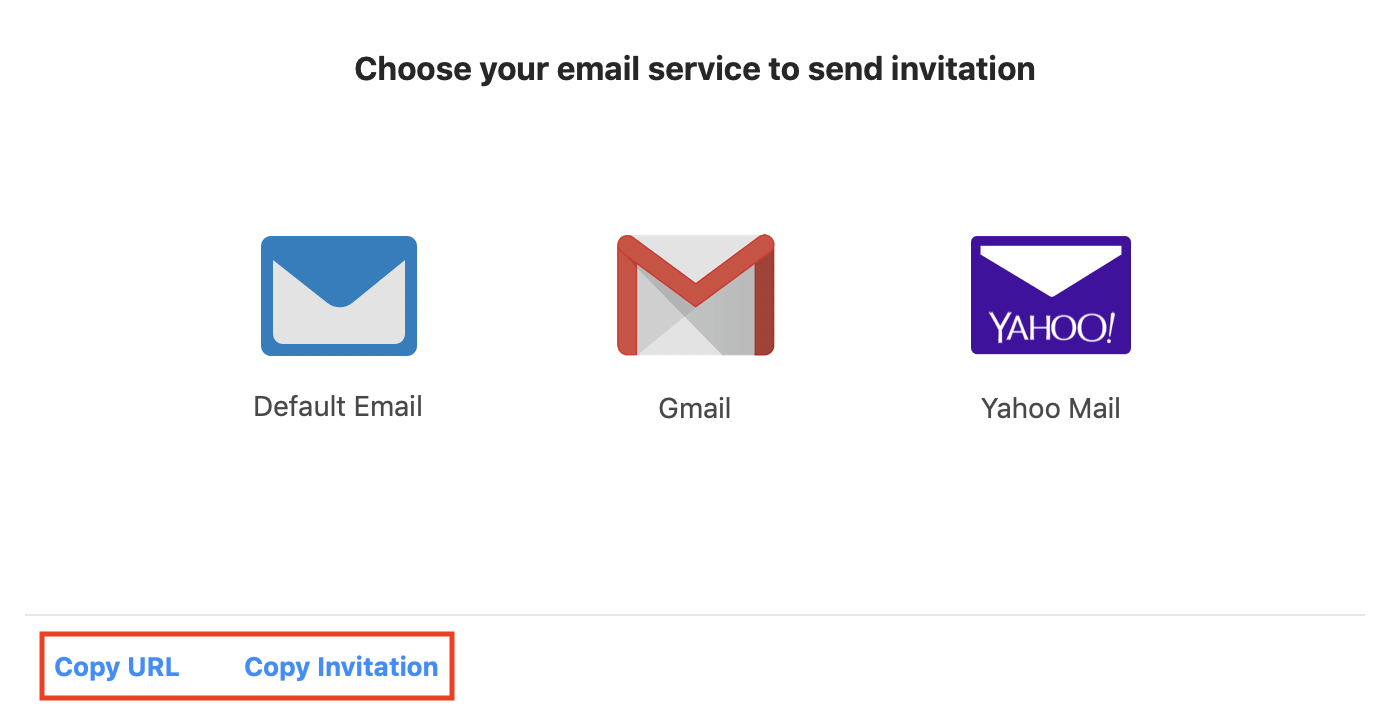 The Invite Via Email tab with Copy URL and Copy Invitation both highlighted