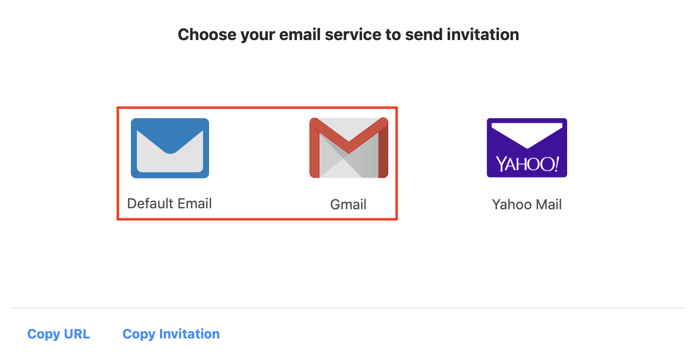 screenshot of the invite via email tab, default email and Gmail are both higlighted