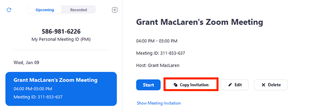 screenshot of options in the Zoom desktop client with an upcoming meeting selected - Copy Invitation is highlighted