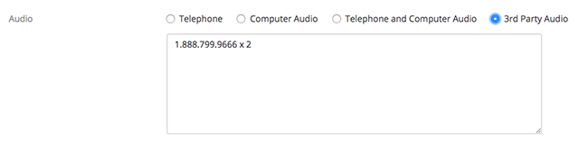 screenshot showing 3rd party audio selected in the audio options, which a phone number and extension listed in the call bridging text box