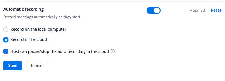 Zoom recording settings. Automatic recording section. The feature is enabled and record in the cloud selected. Host can pause/stop the auto recording in the cloud checked.