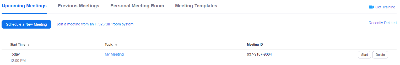The Meetings page on the Zoom website, showing an upcoming meeting.