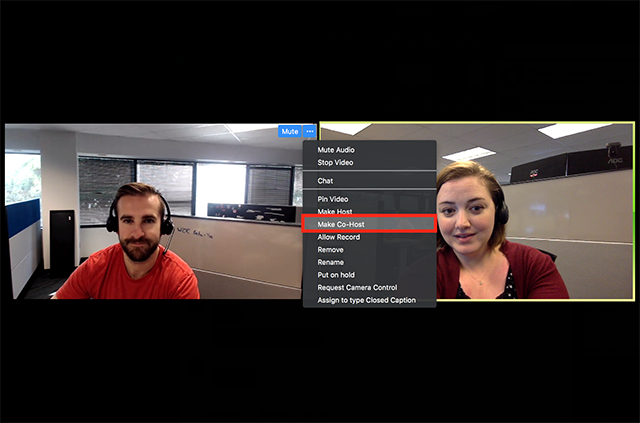 screenshot showing the ... more menu on a participant video feed with Make Co-Host highlighted