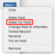 screenshot showing the More menu next to a panelist name - Make Co-Host is highlighted