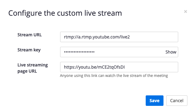 The Configure the custom live stream pop up window - each field is filled out with sample information from Youtube Live