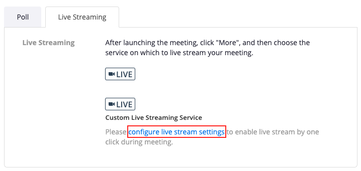 The Live Streaming tab in a scheduled meeting details page with the configure live stream settings link highlighted