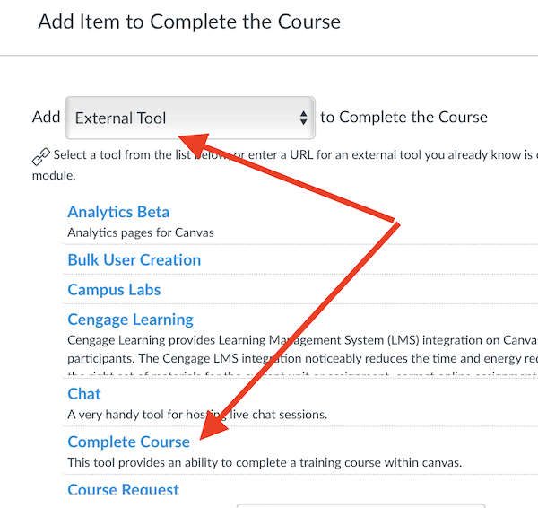 the add item dialog box with external tool selected at the top and the complete course item highlighted.