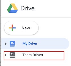 the google drive navigation pane with the team drives highlighted.