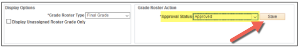 Grade status set to Approved with Save button highlighted
