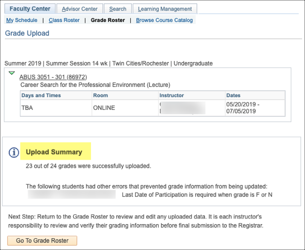 Faculty Center tab in PeopleSoft showing the Upload Summary with 1 student whose grade didn't come over correctly