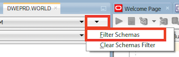the options filter schemas and clear schemas filter. the filter schemas option is highlighted.