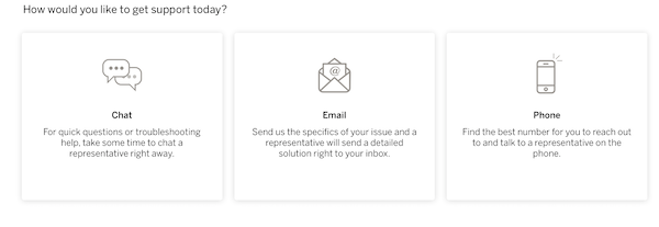 How would you like to get support today? window with chat and email options