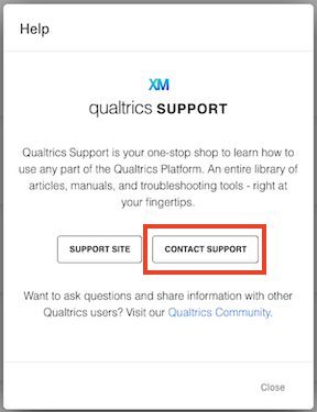 Qualtrics Support contact support highlighted
