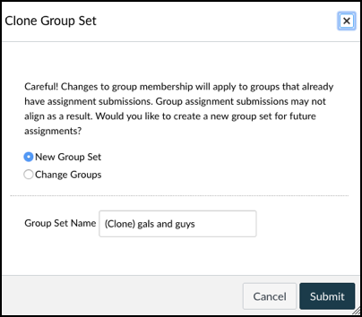 Clone Group Set pop-up window