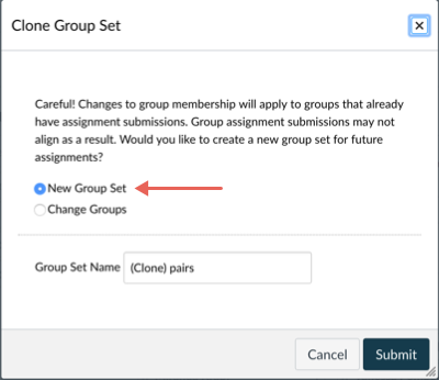 Clone Group Set pop-up with New Group Set highlighted