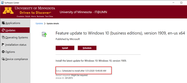Feature update to Windows 10; with Install and Schedule buttons; text: Install the latest update for Windows 10 ; Status highlighted