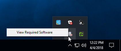 Show hidden icons pop-up menu; drive icon with x selected with view required software pop-up text