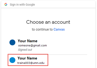 "Sign in with Google dialog box. Text: ""Choose an account to continue to Canvas"""