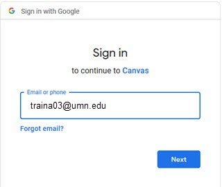 Sign in to continue to Canvas dialog box