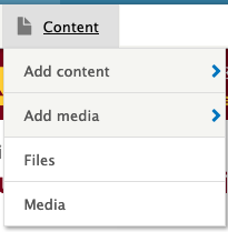 the content menu in the admin bar showing four items: add content; add media; files; media