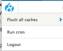 the tools menu showing three items: flush all caches; run cron; logout