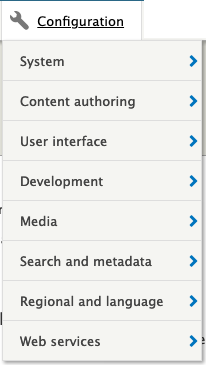 the configuration menu in the admin bar showing 8 items: system; content authoring; user interface; development; media; search and metadata; regional and language; web services.