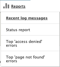 the reports menu showing 4 items: recent log messages; status report; top access denied errors; top page not found errors