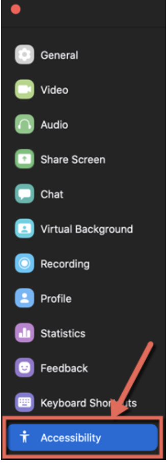 The Zoom settings menu. Accessibility is at the bottom.