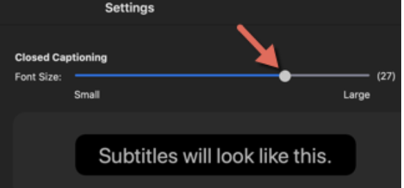 Closed Captioning font size slider is 2/3 of the way between small and large, showing font size of about 18.