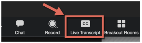 The Live Transcript button in the Zoom host menu controls