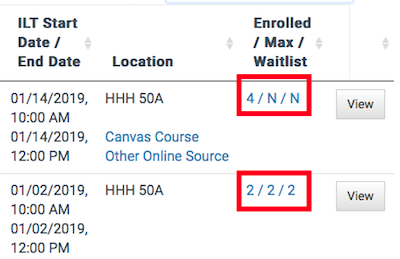 the enrolled max waitlist numbers in the section table