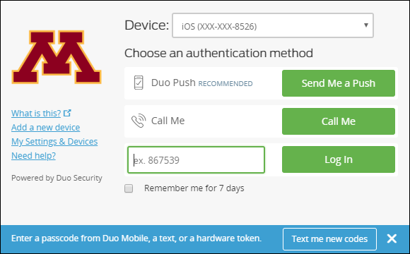 """DUO authentication screen. Cursor is in passcode field and """"Text me new codes"""" displays."""