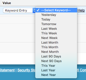 The Keyword Entry option with Menu expanded