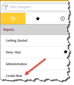 Application navigator with arrow pointing to Create New option in Reports section.