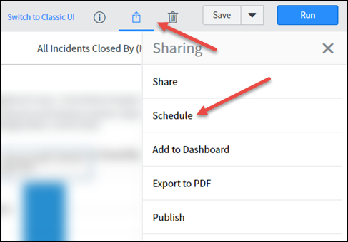Reporting interface with the Share icon selected and the Schedule option highlighted.