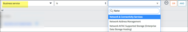 Kingston Reports filter with Business Service selected and drop down menu of option with search box open