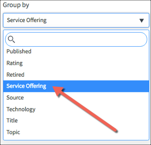 Kingston Configuration tab with the Group By drop down menu open and Service Offering option highlighted